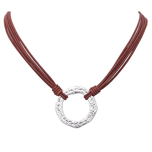 Yunhan Pearls Alloy Clasp Necklace Choker Pendant with Orange Genuine Leather Cord for Women 16.5''