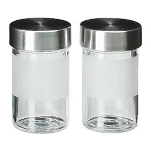 IKEA Droppar - especia tarro, vidrio esmerilado, de acero inoxidable de 2 unidades / - 9 cl