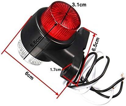 2Pcs 10-30V L/ámpara indicadora de Luces indicadoras Laterales Redondas de 8 LED para cami/ón Remolque Creacom L/ámpara indicadora de Luces indicadoras Laterales Redondas de 8 LED
