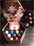 Red Bakutin Collector's Tin Filled with 18 Bakugan, B2 Bakupearl, Bakugan Series 1 and /Or Heavy Metal Bakugan Random Marbles with 36 Cards!