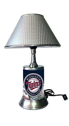 JS Twins Table Lamp with Chrome Shade, Your Favorite Team Plate Rolled in on The lamp Base, ()