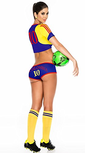 Espiral Lingerie Women's Colombia Soccer Player Costume, Blue/Yellow/Red, Large