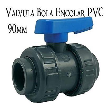VALVULA DE BOLA ENCOLAR 90MM para pegar PVC. Llave de alta calidad fabricada en España