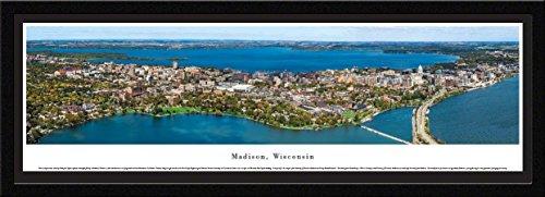 Blakeway Worldwide Panoramas Madison, Wisconsin - Blakeway Panoramas Skyline Posters with Select Frame Single Mat