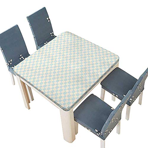 (PINAFORE Table in Washable Polyeste Big Little Squares Checked Pattern Vintage Geometric Tile Ornament Cream Baby Blue Banquet Wedding Party Restaurant Tablecloth 45 x 45 INCH (Elastic Edge))