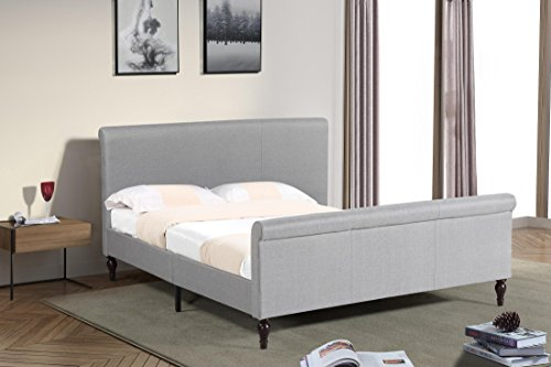 Home Life Premiere Classics Cloth Light Grey Silver Linen 45' Tall Headboard Sleigh Platform Bed with Slats King - Complete Bed 5 Year Warranty Included 017