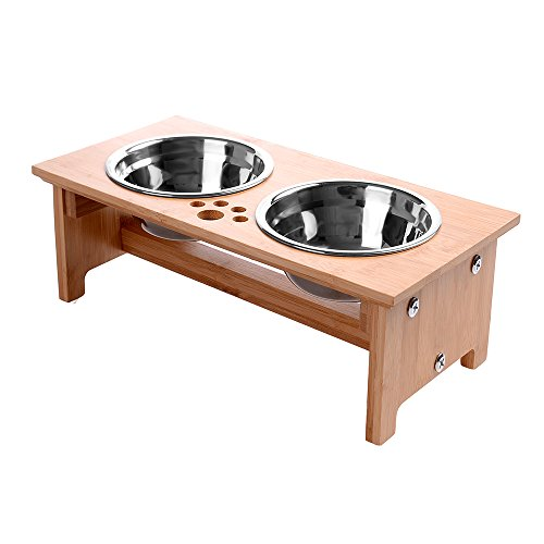 FOREYY Raised Pet bowls for Cats and Small Dogs - Bamboo Elevated Dog Cat Food and Water Bowls Stand Feeder with 2 Stainless Steel Bowls and Anti Slip Feet(4'' Tall)