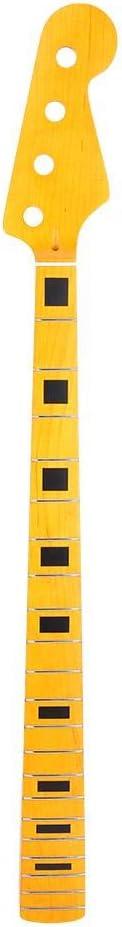 jaune Manche de basse,21 frettes en bois d/érable /électrique 4 cordes Guitare inachev/ée Manche de basse avec incrustation de points noirs pour les pi/èces de rechange de r/éparation de basse