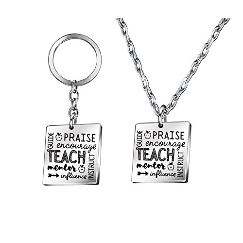 - Personalized Pendant Necklace Keychain Key Chains Rings for Women Men Teacher