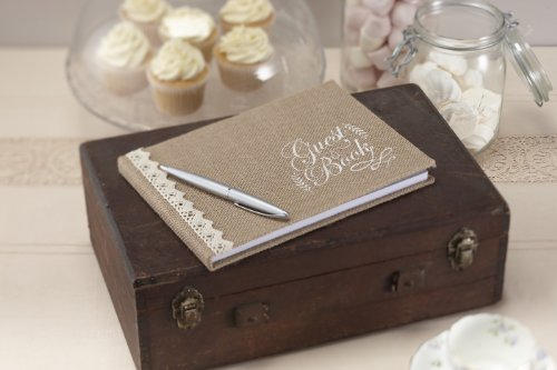 Ginger Ray AF-630 Hessian and Lace Trimmed Burlap Wedding Guest Book-Vintage Affair (, 1, Brown ()