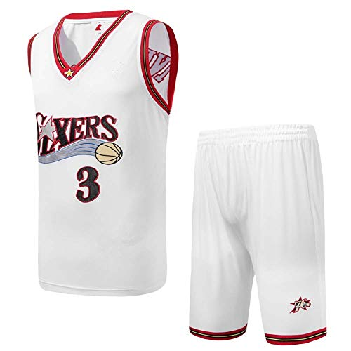 KSITH Jersey NBA Iverson #3 76ers Two-Piece Suit Retro Embroidery Basketball Uniform Black/White