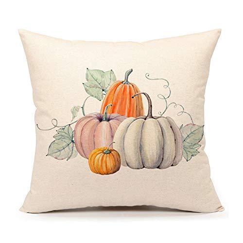 4TH Emotion Pumpkin Throw Pillow Cover Halloween Cushion Case 18 x 18 Inch Cotton Linen Autumn Fall Thanksgiving Home Decoration -