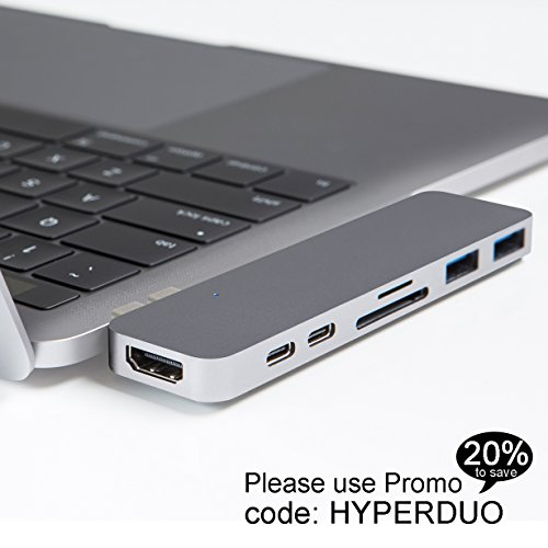 2 Gray Cards (HyperDrive USB C Hub, Best Type-C DUO Adapter 50Gbps for MacBook Pro 2017/2016 13