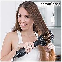 InnovaGoods Cepillo Eléctrico Secador y Alisador 1000W Negro Dorado - 500 gr