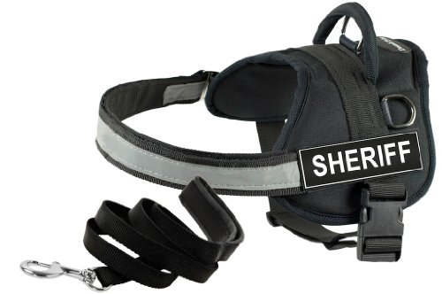Dean and Tyler Bundle One DT Works Harness, Sheriff, Large (34-Inch, 47-Inch) with One Matching Padded Puppy Leash, 6-Feet Stainless Steel Snap, Black by Dean & Tyler