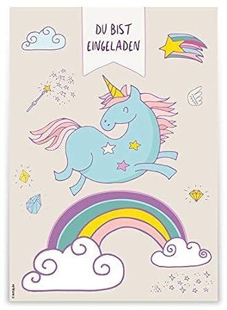 """12 tarjetas de invitación """"Unicornio del arco iris para niños Cumpleaños/Cumpleaños"""