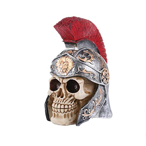 Halloween Creative Home Decoration Accessories Hand Carved Skull Stone Skull Statues Crystal Healing Gift Crafts Resin Warrior Skull Statue for haunted house by Businda