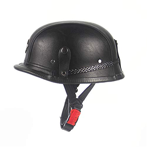 LONG Motorcycle Harley Helmet Cruise Retro Helmet Steel Helmet Helmet Motorcycle Helmet Handmade Leather Cap Half Helmet,Black,XL ()