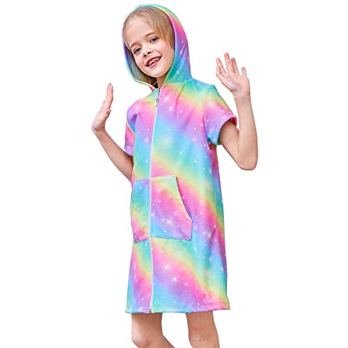 (Beinou Terry Swim Cover Up for Girl Rainbow Zipper Swimwear Coverups Beach)