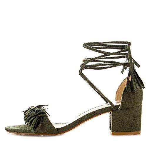 Med Heel Pump (Nature Breeze Womens Open Toe Tassel Leg Wrap Lace Up Chunky Med Low Heel Pump Sandals 10 Olive)