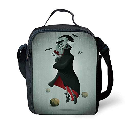 Vampire Stylish Lunch Bag,Creepy Halloween Night Pumpkins and