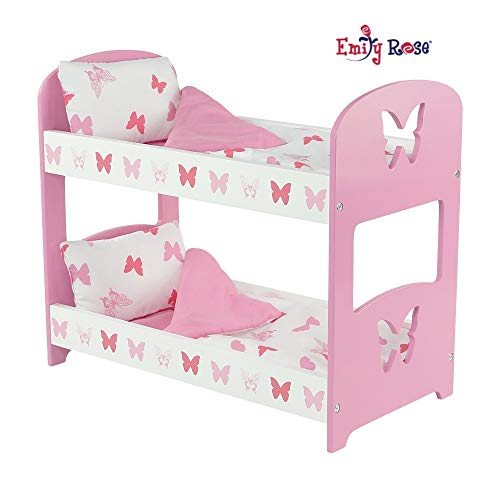 Emily Rose 18 Inch Doll Furniture   Lovely Pink and White Double Bunk Bed, Includes Plush Reversible Bedding   Fits 18 American Girl Dolls (Butterfly Theme)