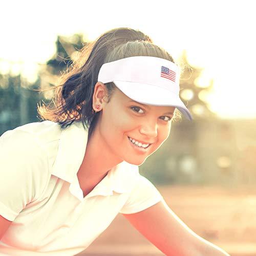 (American Flag Visor Cap,Outdoor Sports Tennis Golf Running Cotton Hats for Men Women Patriotic)