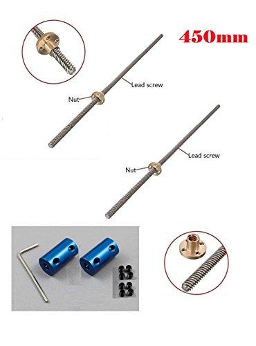2 x 450mm 3D Printer T8 8mm Lead Screw Rod Nut Z Axis Linear Rail Bar +2x Coupler