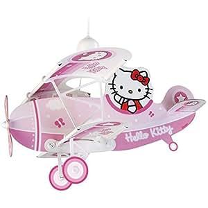 Dalber - Lámpara colgante infantil 1 luz avion, colección Hello Kitty.