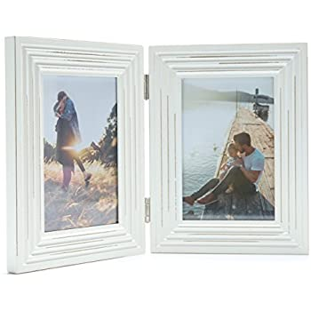 Amazon.com - Double Folding 4x6 White Wood Picture Frame with Glass ...