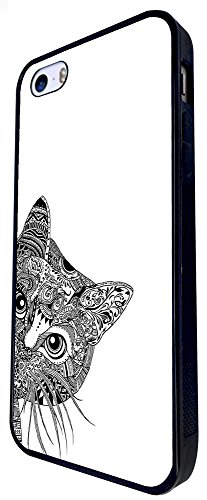 554 - Cool Aztec Cat Cute Design iphone SE - 2016 Coque Fashion Trend Case Coque Protection Cover plastique et métal - Noir