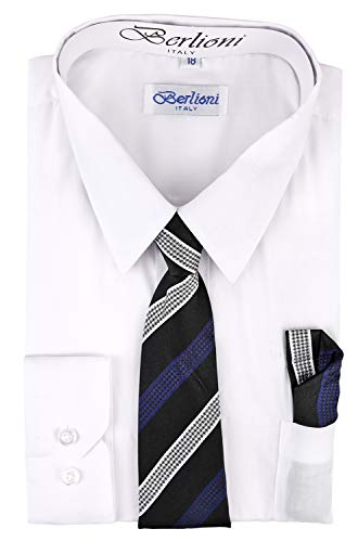 Paragon Stores Boy's Dress Shirt, Necktie, and Hanky Set - White, Size 8