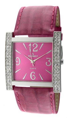 Peugeot Women's 324PR Silver-Tone Swarovski Crystal Accented Purple Leather Strap Watch