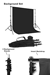 CowboyStudio 10 X 12ft Black & White Muslin Backdrops with Support System and Carry Bag