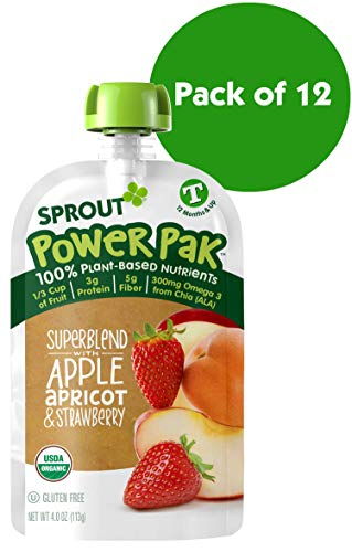 Sprout Organic Stage 4 Toddler Food Power Pak Pouches, Superblend w/ Apple Apricot & Strawberry, 4 Ounce (Pack of 12)
