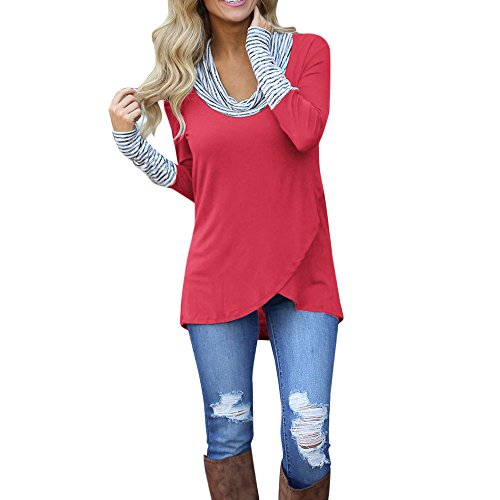 Lookatool LLC Women O-Neck Stripe Long Sleeve Sweatshirt Pullover Tops Blouse Shirt ()