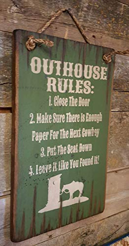 Designs Outhouse (Outhouse Rules Humorous Rustic Wood Sign Wall Art Home Family Decoration Design Plank Plaque Wooden Sign)
