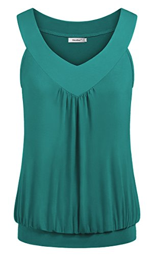 (Sixother Women's Summer Comfy Blouse, Sleeveless Fitted Tunics Solid Color V Neck Pleated Front Shirt Flowy Tops for Female Elegant Vintage Tunic Tank Juniors Aqua XL)