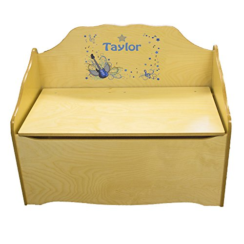 Personalized Blue Rock Star Childrens Natural Wooden Toy Chest by MyBambino
