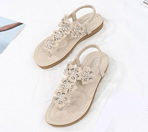 Flowers Flippers Flat Sandals Casual De Bohemia Zapatos Beige Summer Mujer q17wA