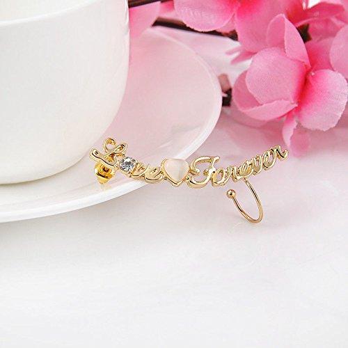 ERAWAN Fashion Womens Gold Crystal Rhinestone Love HeartLeft Ear Cuff Clip Earring Stud EW sakcharn