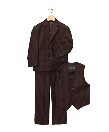 18 Ferrecci Brown Pinstripe Boys 3pc (Brown Pinstripe Pants)