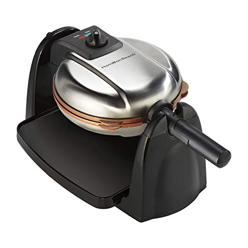 Hamilton Beach Flip Belgian Waffle Maker with Non-Stick Copper Ceramic Removable Plates, Browning Control, Drip Tray, Stainless Steel 26031