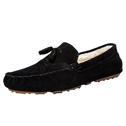 Jitong Man's Slip On Faux Suede Leather Moccasin Shoes Warm Fleece Lined Anti-Skid Rubber Sole Loafers Shoe Black uLj6lOraYT