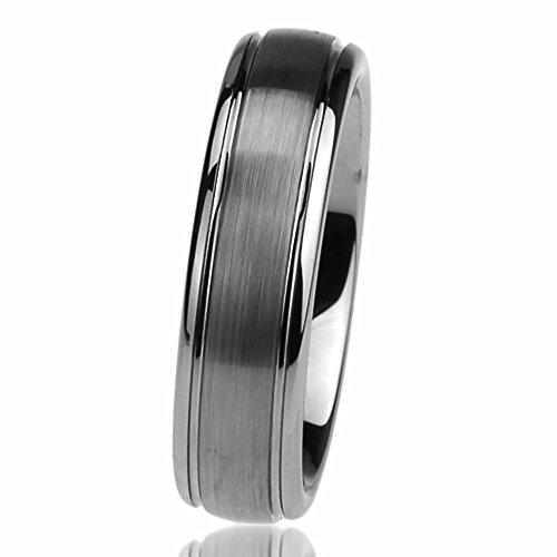 Prime Pristine Titanium Wedding Band Ring 6mm White Brushed Domed Ring