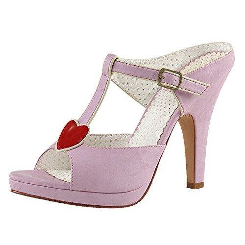 Heels-Perfect - Pantuflas de caña alta Mujer Violeta (Lila)