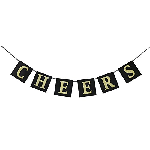 Cheers Gold Glitter Banner for New Years Eve Celebration - Holiday Banner Garland Sign - Happy New Year Party (New Years Eve Banners)