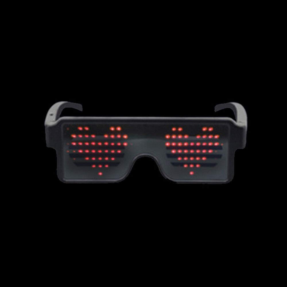 LYX Dynamic LED Glowing Glasses Party Favor, USB Rechargeable LED Light Up Eyeglasses with Flashing Neon, 8 Patterns LED Luminous Glasses for Halloween Nightclub Christmas (Color : Red) by LYX