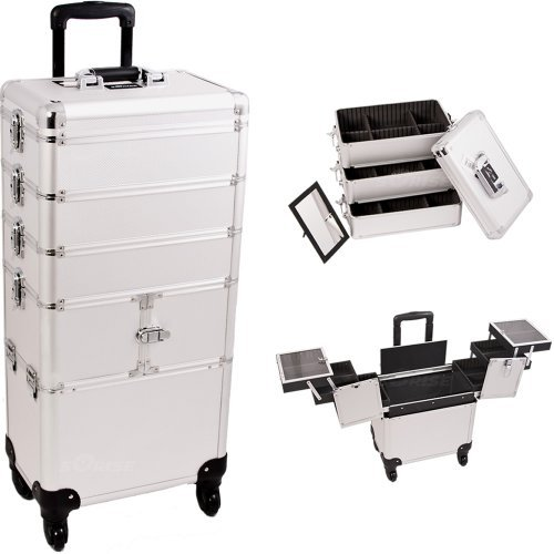 Sunrise I3364DTSL Silver Dot 3 Tiers Accordion Trays Professional Rolling Aluminum Cosmetic Makeup Craft Storage Organizer Case and Stackable Trays with Dividers