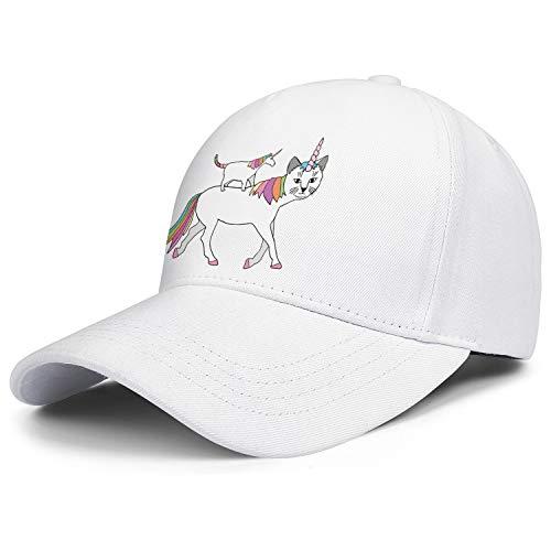 Unisex Baseball Cap White Funny Unicorn Cat Adjustable FitsFit Athletic Flat Hat